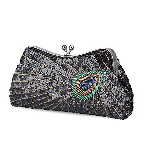 Kiss Bag Women's Peacock Baglamor Purse Clutch Clutch Lock Black Sequin 85xqqUwga