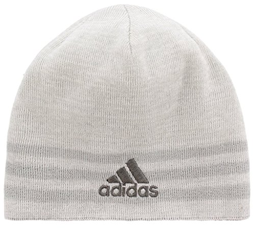 Reversible Stripe Beanie - adidas Men's Eclipse Reversible Beanie, White/Clear Grey/Light Onix/White/Clear Grey Marl, One Size