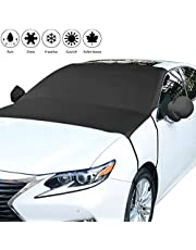 Car Windscreen Cover against Frost Ice Sun,Anti-UV Windshield Protector with Two Mirror Covers Universal Waterproof Anti Snow Heat Wind Dust ,All weather Fits Most of Car SUV Truck Vans(205 * 150cm)