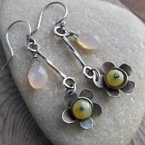 Silver Flower Dangling Earrings Yellow Opal- Diana Anton Jewelry Design