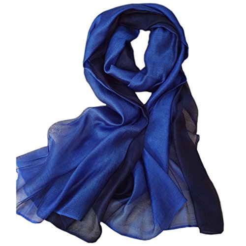Blue Silk Long Scarf - 1