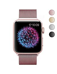 Apple Watch band 38mm and Apple Watch case 38mm, FashionAids Milanese band Replacement along with TPU protective bumper case for Apple Watch Series 2, Series 1, Nike+ Rose Gold 38mm