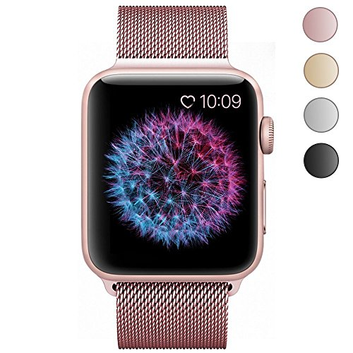 Apple Watch Band 38mm Rose Gold, Zyra Milanese Loop Stainless Steel Replacement Bracelet Strap with Plated TPU Scratch-Resistant Protective Bumper Cover for Apple Watch Series 2, Series 1 Silver
