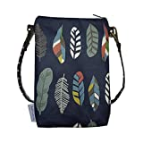 Cross body Phone Pouch for Women Ladies, Tainada Universal Crossbody Travel Dual Zippered Wallet Purse Bag with Detachable Strap for iPhone 8 Plus,X, Samsung S9, S8+ Note 8 (Feather Pattern Navy Blue)