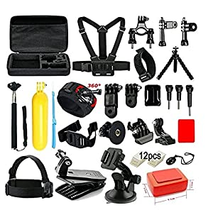 Soft Digits Accessories Kit for GoPro Hero 5 4 3+ 3 2 1 Session Accessory Bundle Set for Action Camera SJ4000 SJ5000 SJ6000 Xiaomi Yi-Flotation Handle+Head Strap+Octopus Tripod+Chest Strap(44 Items) by xingtuowei