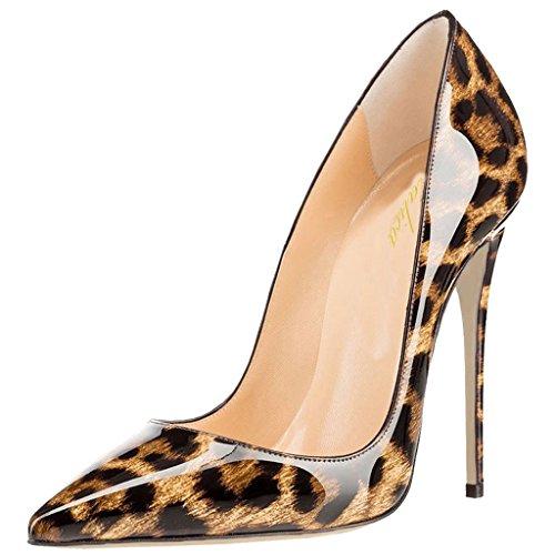 Talon Haut Chaussures Mariage Lutalica Verni Escarpins Fête Stiletto Robe Pointu Patent Femmes Toe Léopard 4pXqH1