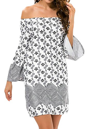 Short 3 Womens Shoulder Off Cromoncent 4 Gray Stylish Dress Printed Sleeve 8g4n4Wc
