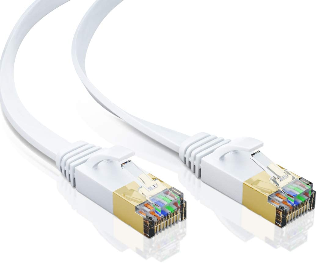 Modem 50FT White LAN Cord with Clips High Speed Rj45 Network Wire for Router Bxton Cat7 Flat Ethernet Cable