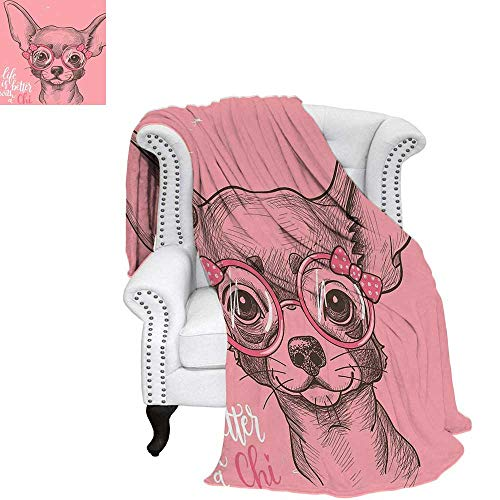 - WilliamsDecor Dog Throw Blanket Girl Chihuahua Sketch Illustration with Quote Fashion Glasses Ribbons Puppy Warm Microfiber All Season Blanket for Bed or Couch 70
