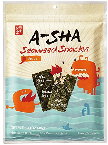 Asha Seaweed Snacks with Puffed Rice, Toasted Almonds, Roasted Sesame Seeds (Spicy, Shareable)