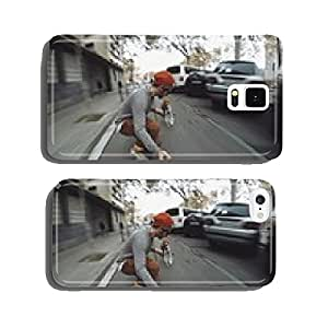 Man rides his longboard followed by his dog cell phone cover case Samsung S6