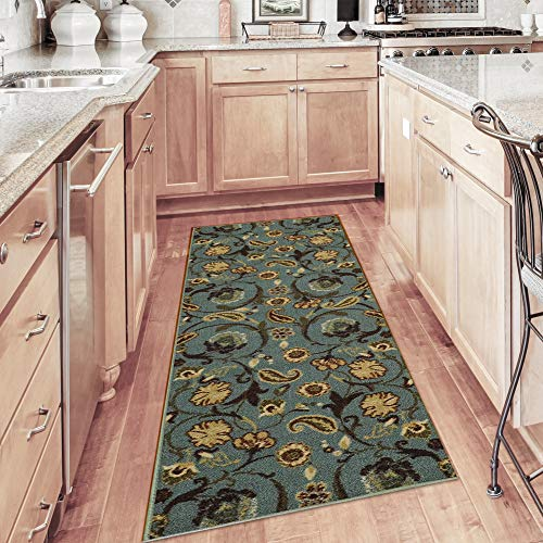Maxy Home Custom Size Runner Teal Green Multicolor Floral Garden Non-Slip (Non-Skid) Rubber Back Stair Hallway Rug by Feet 22 Inch Wide Select Your Length from Maxy Home