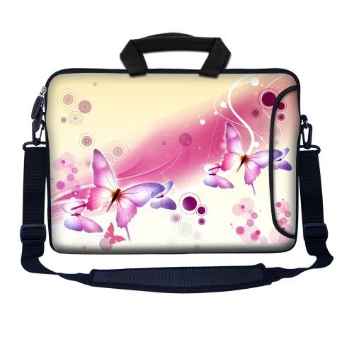 39,62 cm Neopren mit Extra Seitenfach, weicher Tragegriff & Abnehmbarer Schultergurt für 35,56 cm bis 39,62 cm Notebooks Größe Hands Painting Pink White Butterfly