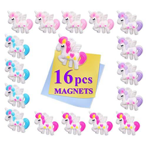 (Pawliss 16 Pack Unicorn Fridge Refrigerator Calendar Magnets Kitchen Door Magnet School Locker Whiteboard Magnetic Decor Decorations for Kids Students)