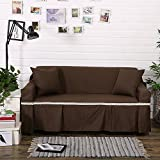 RUGAI-UE Sofa Slipcover Cotton cloth cotton sofa upholstered sofa pad cover full cover non slip solid color cloth living room,Three seater 200×300CM,Deep coffee (cotton)