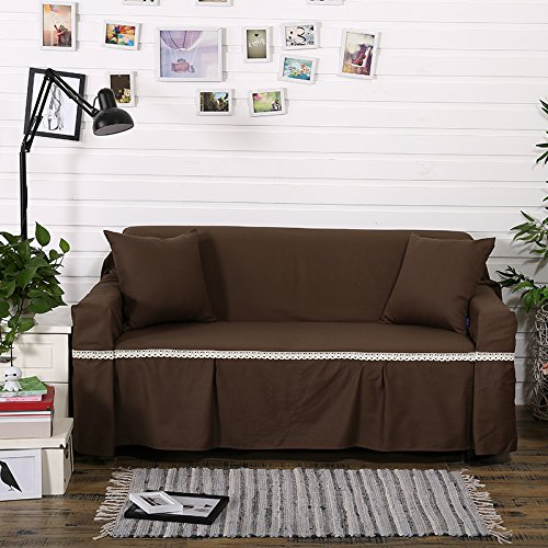 RUGAI-UE Sofa Slipcover Cotton cloth cotton sofa upholstered sofa pad cover full cover non slip solid color cloth living room,Four seater 200×350cm,Deep coffee (cotton)