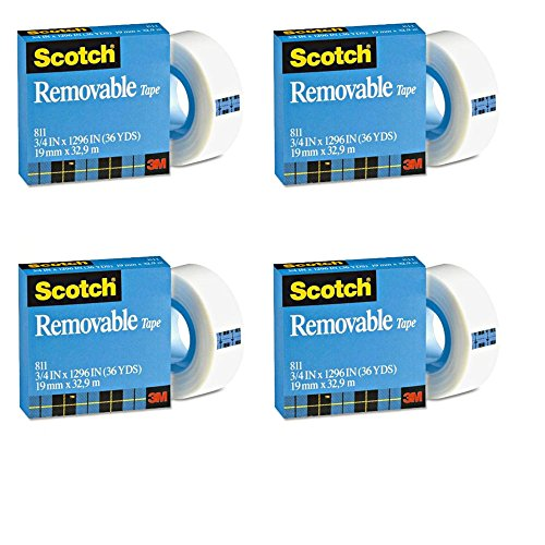 3M Scotch Magic Removable Tape Refill, Matte Finish, 3/4