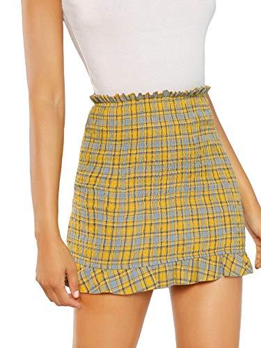 (WDIRARA Women's Cute Mid Waist Ruffle Hem Checked Mini Skirt Yellow M)