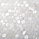 TST Mother Of Pearl Tiles White Hexagon Shinning Wall Deco Backsplash Shell Tile MOP04 (1 Sample 6 x 6 Inches)
