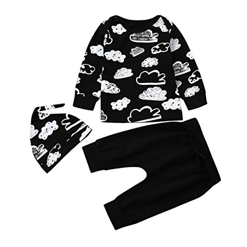 Scaling  Baby Outfits Summer Newborn Infant Baby Girl Boy Cloud Print T Shirt Tops+Pants Outfits Clothes Set by (3-6Months)