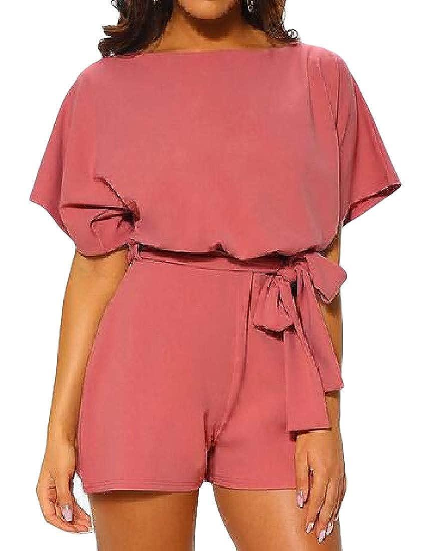 Joe Wenko Womens Belt Solid Color Short Sleeve Fashion Short Jumpsuits Rompers