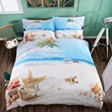Pretty Beach and Seashell in Blue Sky Cotton 4 Peice Duvet Cover Set 3D Print Bedding 2 Pillowcase 1 Flat Sheet 1 Duvet Cover,King