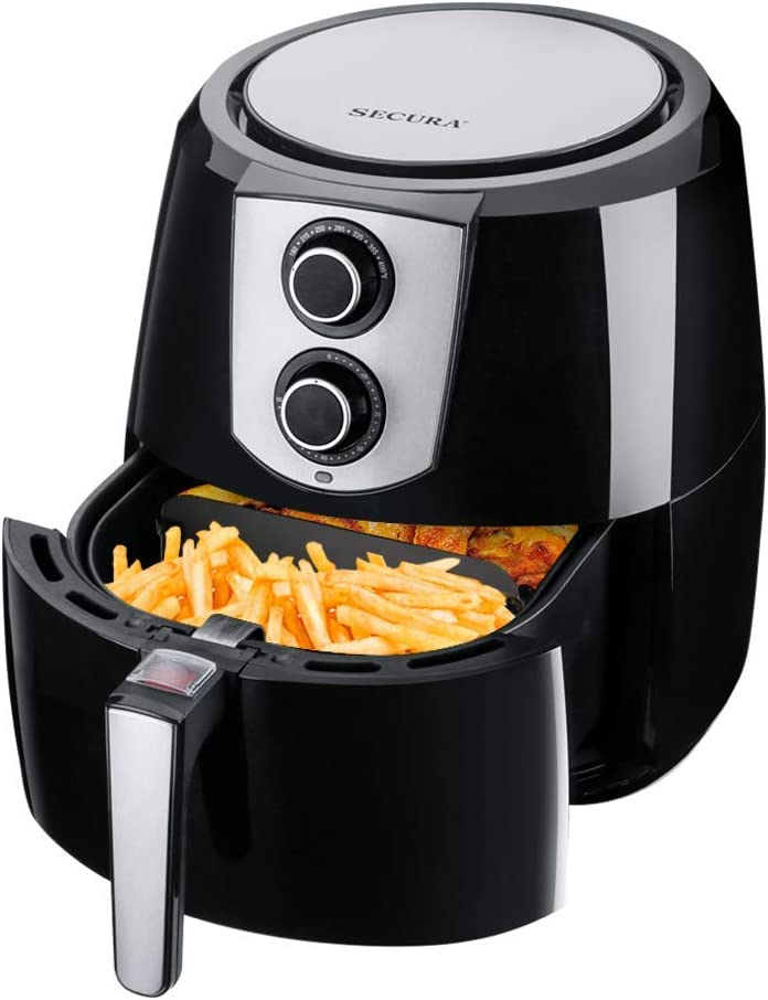 Secura Air Fryer 1800W Electric Hot Air Fryers Nonstick Cooker for Healthy Oil-free Low Fat Cooking with Automatic Timer and Temperature Control, Extra Large Capacity 5.2L/5.5QT, Bonus Food Divider (Renewed)