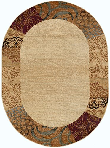 (Sedona Transitional Floral Beige Oval Area Rug, 5' x 7' Oval)