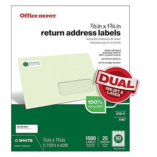 Office Depot® Brand 100% Recycled Mailing Labels, Return Address, 2/3
