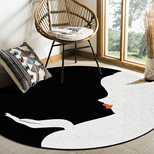Round Rug, Art Deco Non-Slip Machine Washable Indoor Area Rug Mat Living Room Bedroom Study Children Playroom Super Soft Carpet Floor Mat 5 Feet Diameter,Lady Silhouette with Red Lip Black and White ()