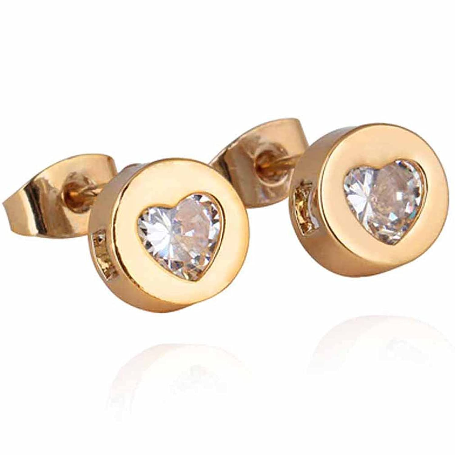 Amazon.com: Yazilind Gold Plated Cubic Zirconia Heart Design Small ...