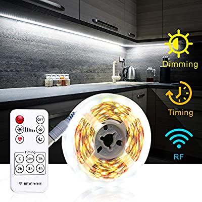 Under Cabinet Lighting with RF Remote Timing Function, White LED Strip Lights, 6000K 13ft Flexible Full kit, DIY Kitchen, Cupboard, Desk, Monitor Back, Shelf Lights