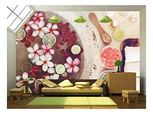 wall26 - Foot Bath in Bowl with Lime and Tropical Flowers, spa Pedicure Treatment, top View - Removable Wall Mural   Self-Adhesive Large Wallpaper - 66x96 inches
