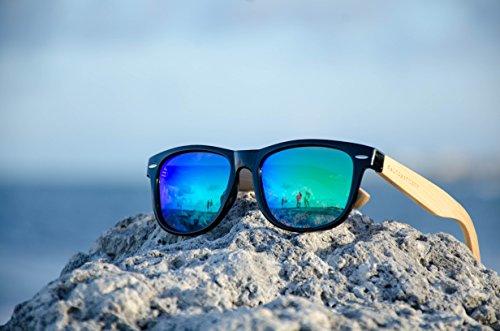 bb12c26f3b Handmade Wayfarer Style Black Frame Green Mirrored Wooden Sunglasses ...