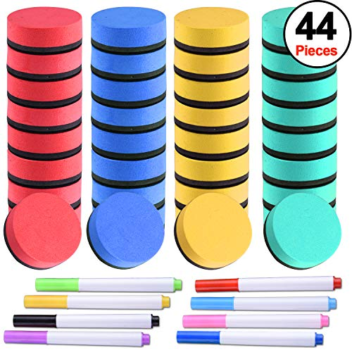 SIQUK 36 Packs Colorful Whiteboard Erasers Magnetic Dry Erase Erasers (Diameter 1.97 inches) with 8 Pieces Dry Erase Whiteboard Markers