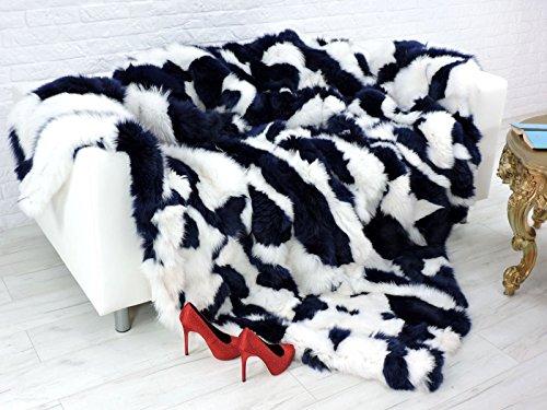 CuddlyDreams Luxury genuine fox fur throw, blanket, dyed royal blue & white, 225cm x 205cm, -
