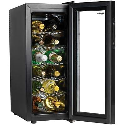 Koolatron WC12G Slim Countertop 12-Bottle Thermoelectric Wine Cellar, Black