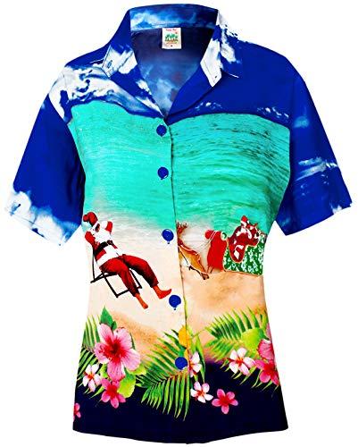 LA LEELA Christmas Santa Aloha Beach Top Shirt Royal Blue 465|M - US - Christmas Blue Santa
