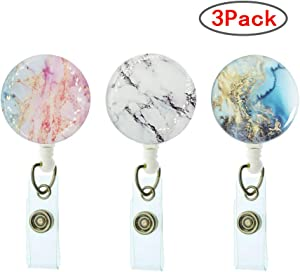 Marble Badge Reel Retractable Badge Name Holder with Alligator Clip Badge ID Holder -3 Pack