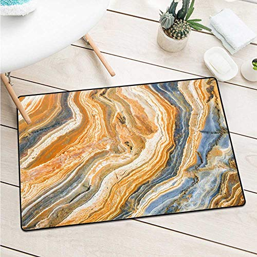 (Wang Hai Chuan Marble Welcome Door mat Colorful Rock Quartz Surface Background Formation Abstract Picture for entrances garages patios W31.5 x L47.2 Inch Slate Blue Orange Apricot)