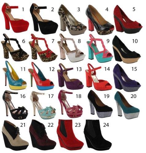 Footwear Sensation - Zapatos de vestir de material sintético para mujer negro - Black Slip On Wedge