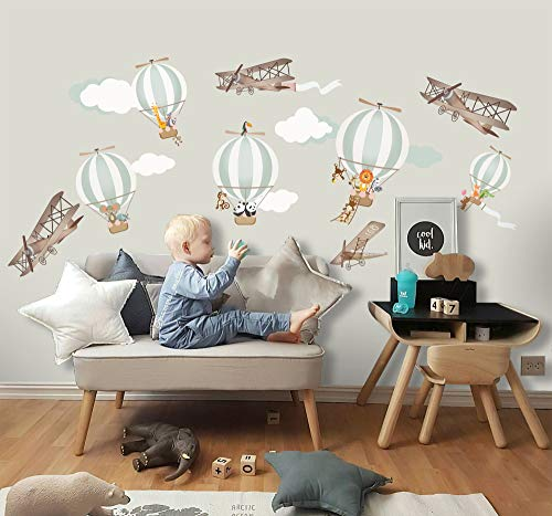 Murwall Kids Wall Decal Hot Air Balloon Wall Sticker Peel and Stick Vintage Aircraft Wall Stick from Murwall