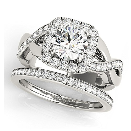14K White Gold Unique Wedding Diamond Bridal Set Style MT50935