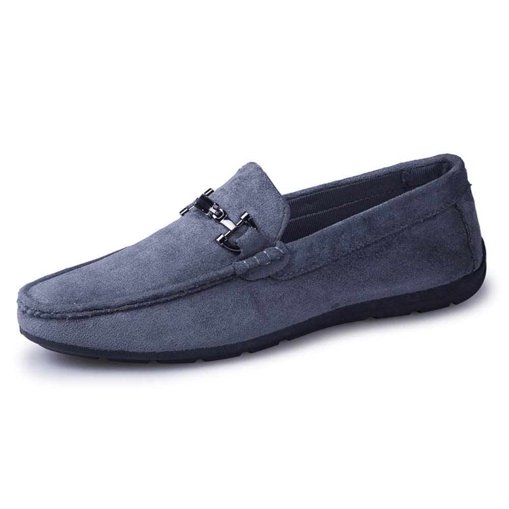 Gobling Penny Loafers for Men, Lightweight Breathable Fashion Leather Wedding Casual Shoes Metal Knot Decor Anti-Slip Round Toe Driving Shoes (Color : Gray, Size : 9.5 M US)