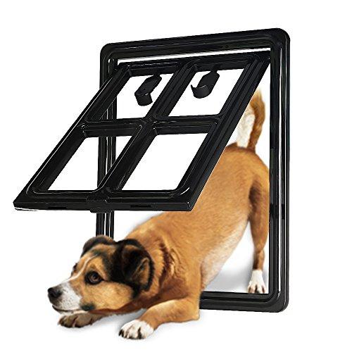 CEESC Dog Door for Sliding Screen Door, 3rd Upgraded Version Automatic Lock Pet Door for Dogs Puppies Cats, 3 Colors 5 Options (Medium Black-Inner Size: 12.5