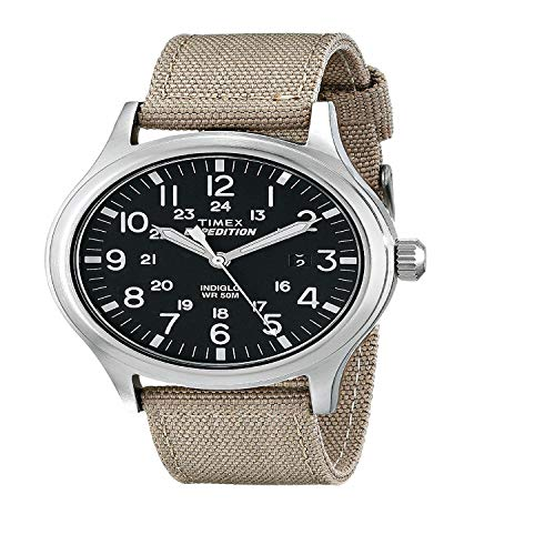 - Timex T49962 Men's Expedition Scout Indiglo Night-Light Black Dial Tan Nylon Strap Watch
