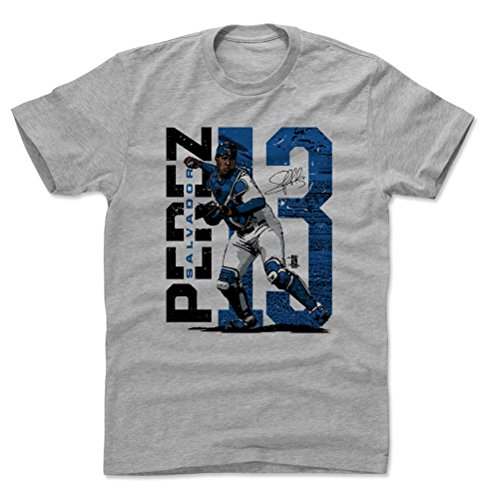 Perez Jersey - 500 LEVEL Salvador Perez Cotton Shirt XX-Large Heather Gray - Kansas City Baseball Men's Apparel - Salvador Perez Stadium B