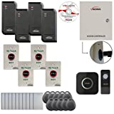 Visionis FPC-6202 Four Door Access Control TCP/IP Wiegand Controller Box with Power Supply Included Black Indoor/Outdoor Card Reader, Computer based Software 10,000 Users, Wireless Doorbell Kit