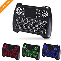 (Updated 2017, 3-Color RGB) Backlit Wireless Mini Keyboard with Touchpad Mouse and Multimedia Keys, 2.4Ghz USB Rechargable Handheld Remote Control Keyboard for PC, HTPC, X-BOX, Android TV Box,Smart TV