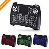 Backlit Wireless Mini Keyboard with Touchpad Mouse and Multimedia Keys, 2.4GHZ Portable USB Rechargable Remote Keyboard for Smart TV,PC,PAD,Google Android TV Box,HTPC,IPTV, XBOX,Support Windows 10